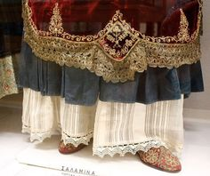 another selection of interesting details from the national history museum, Athens: Greek Traditional Dress, Traditional Fashion, Traditional Outfits, Greek Dress, Greek Costumes, National History, Gold Embroidery, History Museum, Greek Mythology
