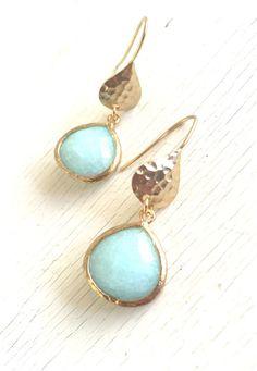 Simple Aqua Jewelry Drop Earrings in Gold. Jewel by RusticGem