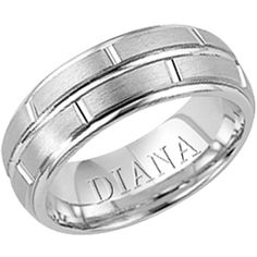 6.5mm comfort fit wedding band with satin finish from Diana. Available in Platinum and 14K White Gold