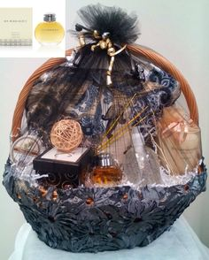 "Fashion Gift Basket designed with ""Burberry"" Fragrance and Gift Items Themed Gift Baskets, Gourmet Gift Baskets, Diy Gift Baskets, Gift Baskets For Women, Custom Made Gift, Mehndi Decor, Company Gifts, Appreciation Gifts, Customer Appreciation"