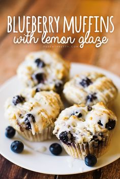 Blueberry Muffins with Lemon Glaze — these blueberry muffins are super-moist, and the lemon glaze? Perfection.
