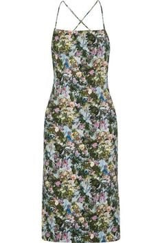 Cushnie et Ochs - Donna Open-back Floral-print Stretch-cady Dress - Green - US