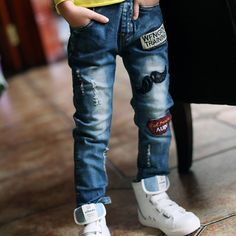 22d0c0d8e656 New 2017 spring  autumn Fashion Boys Jeans For Children Slim Casual Pants  Children s Elastic Waist Denim Long Pant hot sale