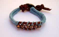Leather cord bracelet in brown with blue thread by JoolsbyAveril