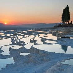 """""""Photo taken by @stevemccurryofficial // I photographed these travertine terraces when the sun was setting at Pamukkale (literally Cotton Palace) in Turkey.  The area has almost two dozen hot springs, and has been used for millennia.  It is recognized as a World Heritage Site, which has made the protection of the surreal limestone formations a high priority."""" Photo taken by @natgeo on Instagram, pinned via the InstaPin iOS App! http://www.instapinapp.com (03/20/2015)"""