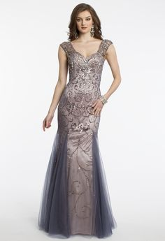 Beaded Illusion Cap Sleeve Dress with Mesh Godets from Camille La Vie and Group USA