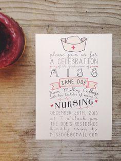 Nursing Graduation Party Invitation by housemanpaperco on Etsy, $75.00