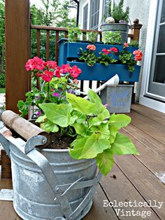 Mop Bucket Planters and tons of other unique planter ideas eclecticallyvintage.com