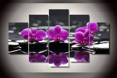 Large Framed Pink Orchids Canvas Print Wall Art Home Decor