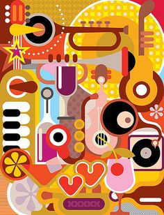 https://www.flickr.com/photos/jazzia/ Dan Jazzia My illustration / Music - vector illustration. Abstract composition with musical instruments and cocktail glasses.