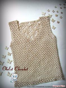 crochelinhasagulhas: haak blouse in Crochet Tank Tops, Crochet Summer Tops, Crochet Cardigan, Easy Crochet, Crochet Lace, Crochet Woman, Crochet Fashion, Beautiful Crochet, Crochet Clothes