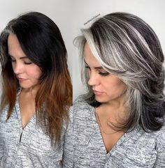Hair is an important material primarily composed of protein, notably keratin. Hair care is your hair type. Your hair goals. Your favorite hair color Here you find all the possible methods to have perfect hair. Grey Hair Care, Long Gray Hair, Dark To Silver Hair, Silver Grey Hair Gray Hairstyles, Grey Hair Dark Skin, Dark Grey Hair Color, Grey Hair Over 50, Pale Skin, Blonde Highlights On Dark Hair