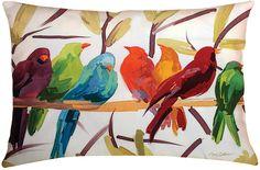 Flocked Together Birds Throw Pillow