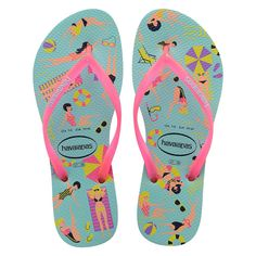 Beat the summer heat with the Slim Cool sandal. Featuring a pool party inspired print in the season's brightest colors. A contrast Havaianas logo on slim straps completes this fun and comfy style. Thong style Cushioned footbed with textured rice pattern and rubber flip flop sole Made in Brazil Pink Sandals, Women's Shoes Sandals, Summer Sandals, Beach Sandals, Roxy, Havaianas Slim, Rubber Flip Flops, Beach Flip Flops, Womens Flip Flops