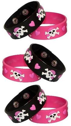 Lot Of 24 Pink Girl Pirate ~ Jolly Roger ~ Party Favor Bracelets by Fx. $9.43. Lot of 24 Pink Pirate Party Bracelets. Great For Girl's Pirate Parties, Little Boys Love Them Too! Make Wonderful Gifts and Party Favors. Adjustable Silicone Rubber Bracelets, One Size Fits Most.. Save 53%! Girls Pirate Parties, Pirate Party Favors, Pirate Birthday Cake, Caribbean Party, Girl Pirates, Pirate Day, Bday Girl, Jolly Roger, Girls Camp