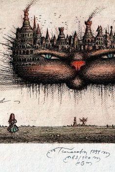 SERGEY TYUKANOV Alice in Wonderland CHESHIRE CAT ORIGINAL ETCHING
