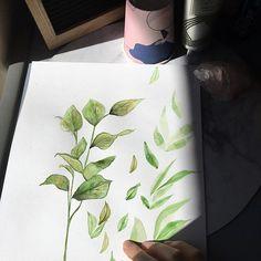 Botanical watercolor painting leaves marinamuse @marinamusestudio graphic design Make Time, Watercolor Paintings, Leaves, Graphic Design, Illustration, Instagram, Watercolor Drawing, Illustrations, Watercolors