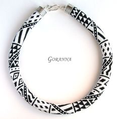 Bead crochet necklace Black-and-White Patchwork by GorannaBeads Bead Crochet Patterns, Pattern Pictures, Seed Bead Jewelry, Peyote Stitch, Loom Beading, Collar Necklace, Fashion Necklace, Crochet Necklace, Creations
