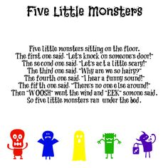 Five Little Monsters Song halloween fingerplays Kindergarten Songs, Preschool Music, Fall Preschool, Preschool Classroom, Preschool Activities, Halloween Songs For Toddlers, Halloween Poems, Halloween Songs Preschool, Halloween Activities