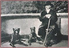 Otto von Bismarck with Tyras II (black/slate with white on chest and toes) and Rebecca, (likely a blue)
