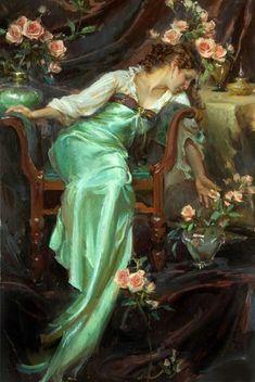 Daniel F Gerhartz, 1965 | American Figurative Painters | Women with Flowers