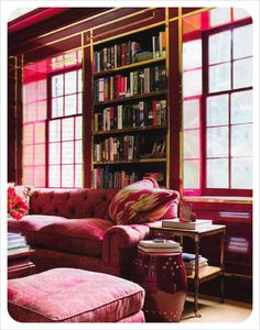 Another view of Boxwood, the Atlanta home designed by Miles Redd. - Amazing Home Libraries My Living Room, Living Spaces, Bookshelves Built In, Bookcases, Built Ins, Bookshelf Styling, Home Libraries, Book Nooks, Reading Nook