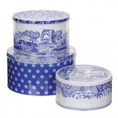 Pimpernel Blue Italian Cake Tins Set of 3 -Spode UK
