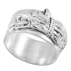 Inel lat, gen verighetă, din argint, realizat manual reprezentand Lupul Dacic -  ce reprezenta animalul totemic al dacilor.  Cod produs: CI6333 Greutate: 6.31 gr. Lungime: 1.50 cm Lățime: 1.00 cm Circumferință inel: 47 mm Gen, Lapis Lazuli, Agate, Topaz, Wedding Rings, Engagement Rings, Jewelry, Diamond, Enagement Rings