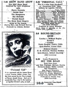 Ad for Personal Call, a radio adaptation of Agatha Christie's play, written for The Detection Club