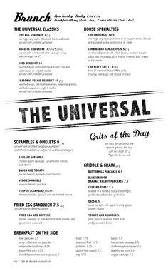 Denver /// The Universal /// Best New Restaurants 2013 Magazine) + breakfast + lunch Breakfast Menu, Brunch Menu, Restaurant Interior Design, Restaurant Ideas, Sausage Gravy And Biscuits, Egg Styles, Lunch Restaurants, Menu Layout, Menu Design