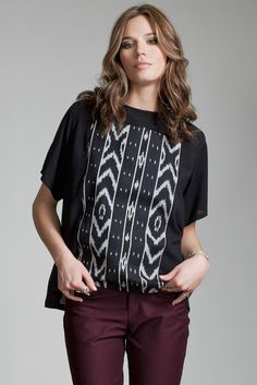Hydra Blouse by Jennifer Glasgow.  Relaxed fit blouse with Ikat printed panel.