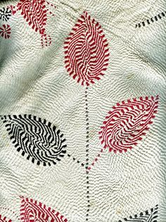 Tree of life - detail of a kantha spread featuring typical textured embroidery expressing cosmic energy.