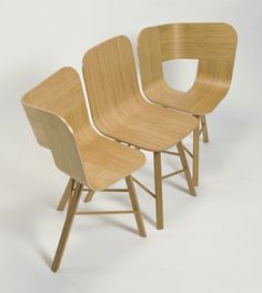 """Two """"Tria Chairs"""" and a """"Tria Simple Chair"""" combined to make a bench or used around a table - designed by Lorenz/Kaz for Cole Italian Design Label - photo from flodeau"""