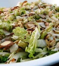 Napa Cabbage Salad With a Crunch 3Garlic cloves 1/8 tspGinger, ground 2 headsNapa cabbage Condiments  2 tbspSoy sauce Pasta & Grains  Crunchy napa salad 2 (3 ounce) packages Ramen noodles 1/4 tspPepper 1 tbspSesame seeds 1/2 cupSugar 1/2 cup     sliced almonds 6 tbspCanola oil 1/4 cupvinegar