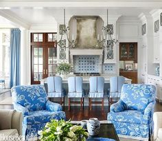 I have a large living room. It's the size of a football field. Not exactly cozy or even welcoming. And I'm struggling to furnish it. Fabulous blue and white family room and kitchen designed by Suzanne Kasler Living Room Kitchen, Living Room Decor, Living Spaces, Dining Room, Blue Rooms, White Rooms, House Ideas, Home Fashion, White Decor