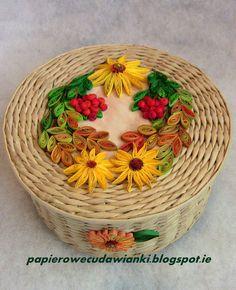 To co robię i co lubię: Jesienny koszyk z papierowej wikliny z quillingowy...