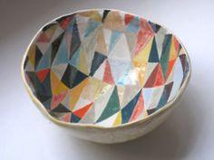 Coloured Bowl - 20cm across x 8cm high, Laura Carlin