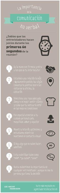 Comunicación no verbal en la entrevista de trabajo #infografia