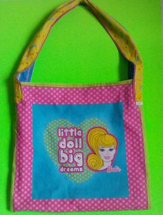 Upcycled accessories, funky hand bags,unique hand bags, barbie tote bag, washable tote bags, indy fashion, edm wear,shopping totes,book bags by  one of a kind larissamyrie.art washable, strong, upcycled, fun, #fashion #style #art #barbie #shoppingbag #totebag #shoulderbag #slowfashion