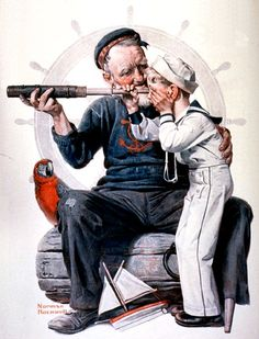 1922 August 19 Sailor boy looking through telescope - Artist Norman Rockwell - Saturday Evening Post. Peintures Norman Rockwell, Norman Rockwell Art, Norman Rockwell Paintings, Illustrations, Illustration Art, Art Quotidien, The Saturdays, Saturday Evening Post, Photo D Art