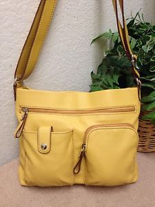 Relic Yellow Pebble Faux Leather Messenger Crossbody Bag Shoulder Handbag  VGC  e325b53ecadff
