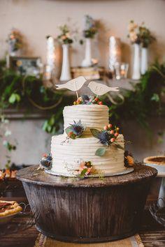 woodland cake stand, photo by Mary Margaret Smith http://ruffledblog.com/birmingham-botanical-gardens-wedding #weddingcake #cakes