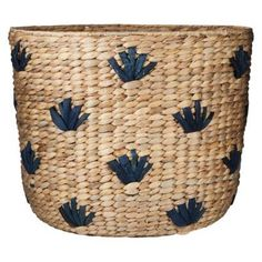 Nate Berkus Decorative Natural and Blue Seagrass Basket