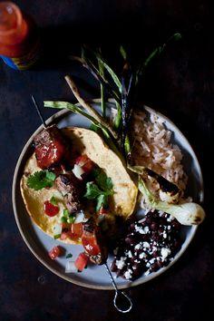 Mojo Pork Tacos // orange and lime marinated pork, pico de gallo, corn tortillas, cilantro