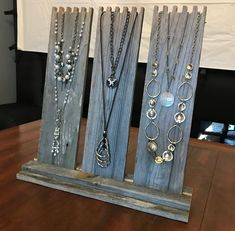 Multi-Necklace Display in Weathered Wood with 3 Easels - Wind-proof Jewelry Disp. - Multi-Necklace Display in Weathered Wood with 3 Easels – Wind-proof Jewelry Display, Necklace Dis - Jewellery Storage, Jewellery Display, Jewelry Organization, Wooden Jewelry Display, Boutique Jewelry Display, Display Ideas For Jewelry, Mirror Jewellery, Jewellery Stand, Jewellery Shops