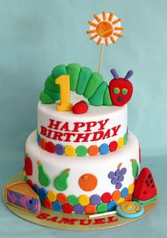 Very Hungry Caterpillar Cake (and Cookies), from Butter Hearts Sugar.