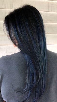Hair Color Dark Blue, Hair Color For Black Hair, Dark Hair, Black Hair Blue Highlights, Blue Black Hair Dye, Midnight Blue Hair, Hair Color Underneath, Korean Hair Color, Hair Streaks