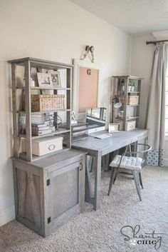 Free Woodworking Plans - DIY Bookcase and Desk System by Shanty2Chic!