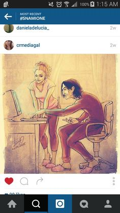 Snamione! Hermione is teaching Severus how to use a computer for the first time!!! So adorable