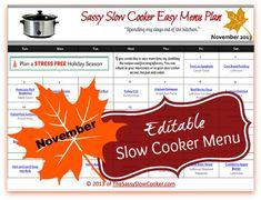 Slow Cooker Family Friendly Menu Plan